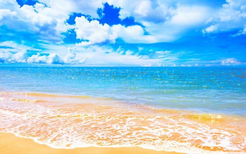 Horizon Sky Wave Blue Sea Tropical Pastel Beach Highres Turquoise Cloud Sunny wallpaper