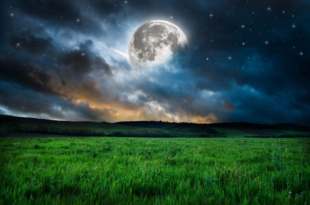 moon grass mood night stars fantasy dream nature landscape wallpaper