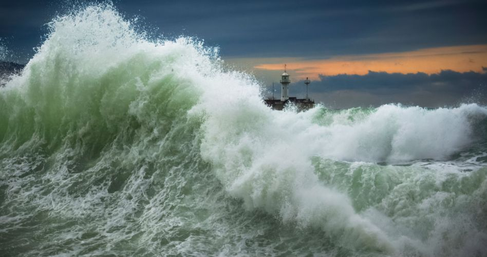 sea waves ocean storm lighthouse wallpaper