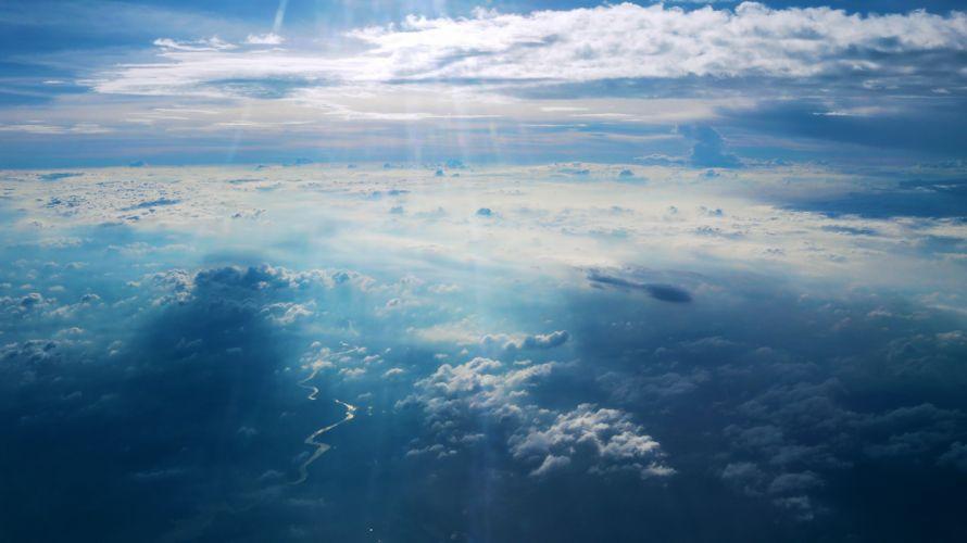 Sky nature landscape clouds river scenic wallpaper