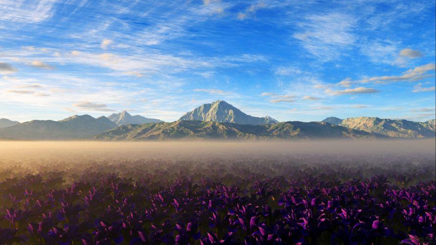 Sky Pink Flower Flower Landscape Fog Field Mountain Cloud Scenic Nature wallpaper