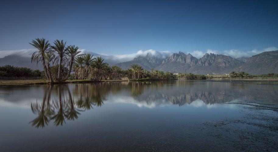 Socotra Island Yemen Mountain Palm Island Fog Landmark Landscape Reflection wallpaper