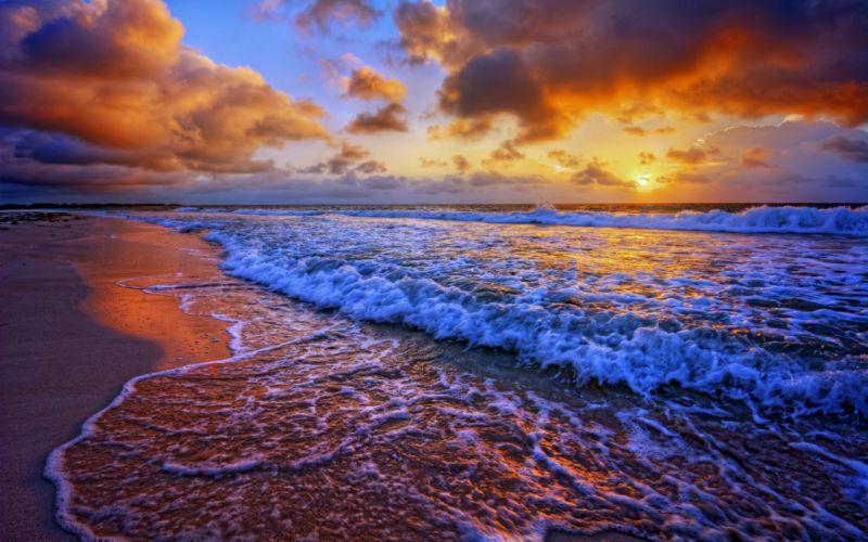 Wave Sand Cloud Sunset Nature Ocean Beach wallpaper