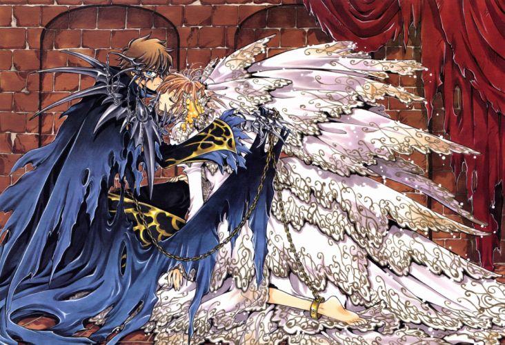 Tsubasa Reservoir Chronicle Series anime couple wings Sakura Kinomoto Character wallpaper