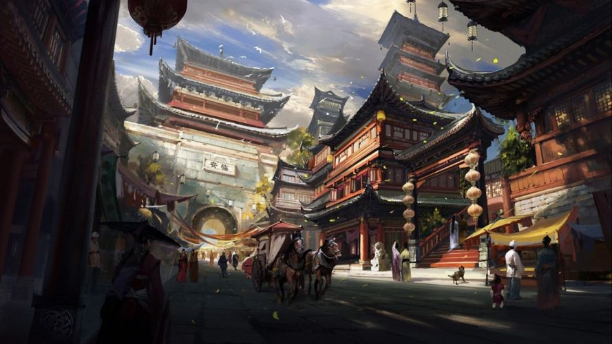 art artwork artistic city cities fantasy architecture building original wallpaper