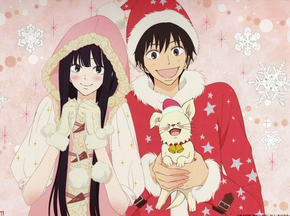 anime couple group cute girl boy dog Kimi ni Todoke Series Sawako Kuronuma Character Shouta Kazehaya wallpaper