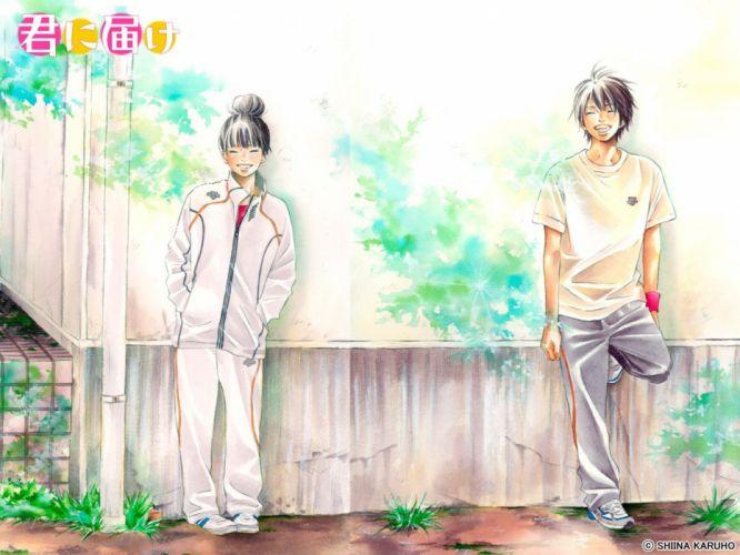 anime couple group cute girl boy smile Kimi ni Todoke Series Sawako Kuronuma Character Shouta Kazehaya wallpaper