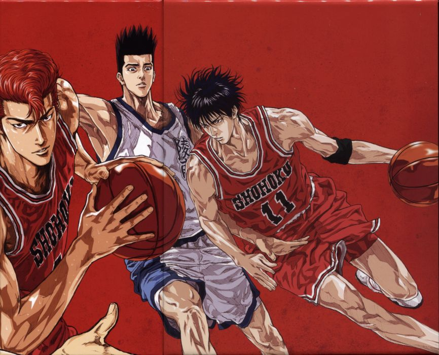 anime sports basketball group guys Slam Dunk Series Hanamichi Sakuragi Character Akira Sendo wallpaper