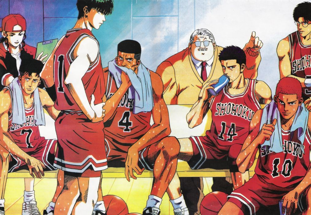 anime sports basketball group guys Slam Dunk Series Mitsuyoshi Anzai Character Kaede Rukawa Character Ayako team wallpaper