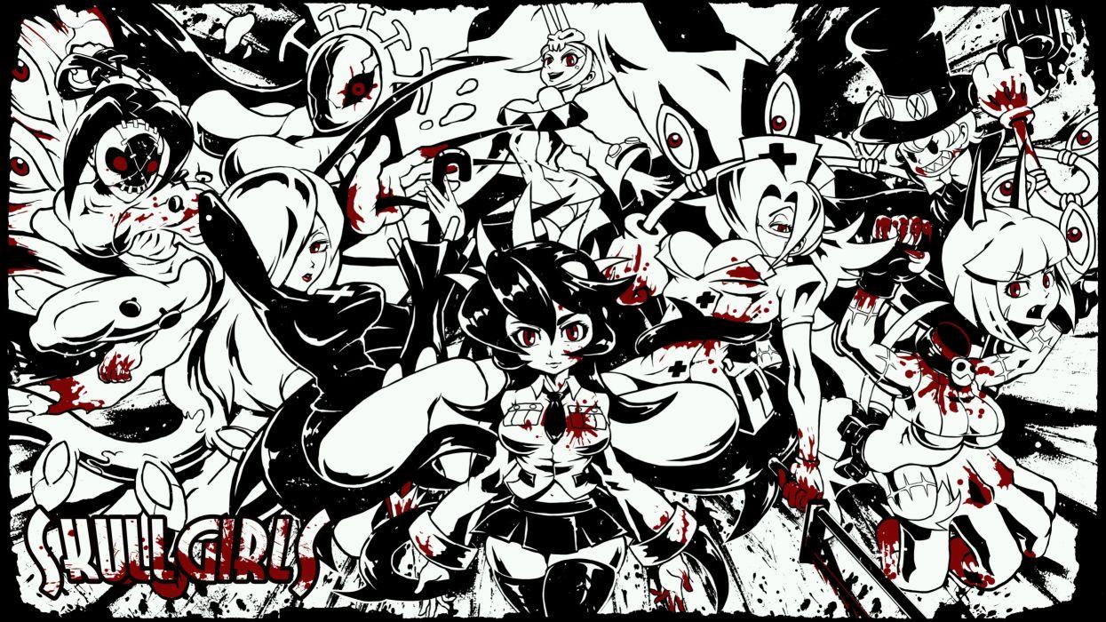 skullgirls action fighting chibi girl girls skull warrior anime