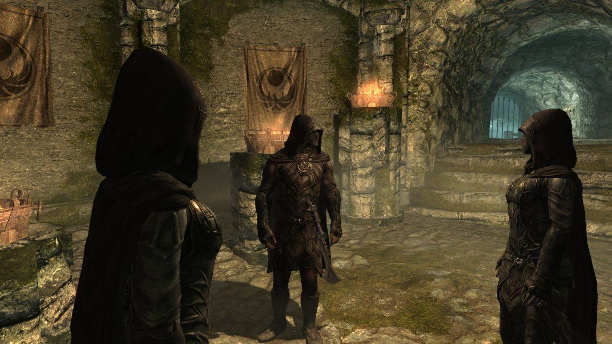 The Elder Scrolls V Skyrim Nightingales Brynjolf Karliah Fire Nocturnal Temple wallpaper