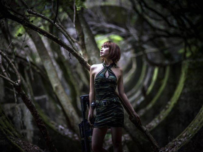 girls guns weapon gun sexy babe fetish girl girls women woman female warrior shooter action rifle assault military asian oriental wallpaper