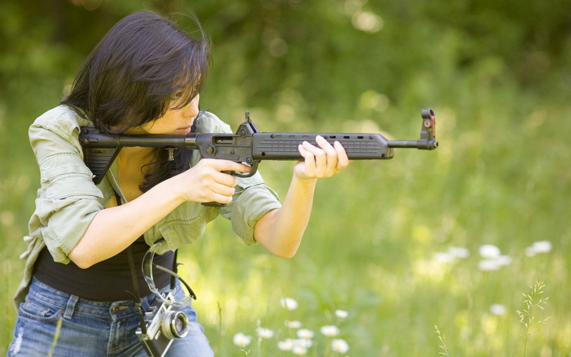 girls guns weapon gun sexy babe fetish girl girls women woman female warrior shooter action rifle assault military wallpaper