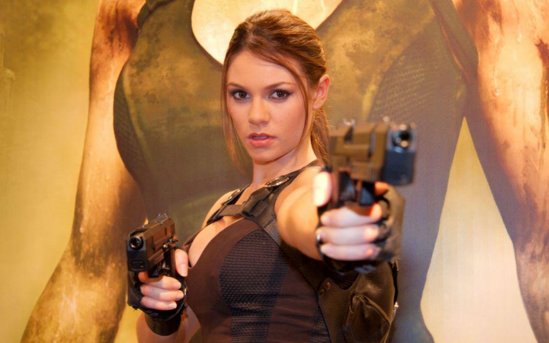 girls guns weapon gun sexy babe fetish girl girls women woman female warrior shooter action pistol handgun tomb raider lara croft cosplay wallpaper
