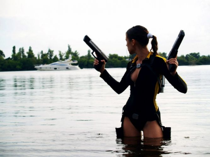 girls guns weapon gun sexy babe fetish girl girls women woman female warrior shooter action rifle assault military pistol handgun tomb raider lara croft cosplay wallpaper