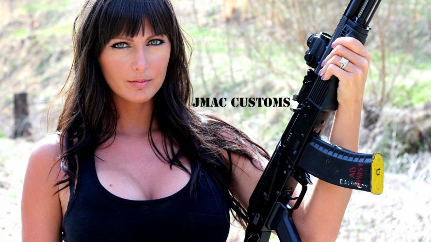 girls guns weapon gun sexy babe fetish girl girls women woman female warrior shooter action rifle assault military wallpaper