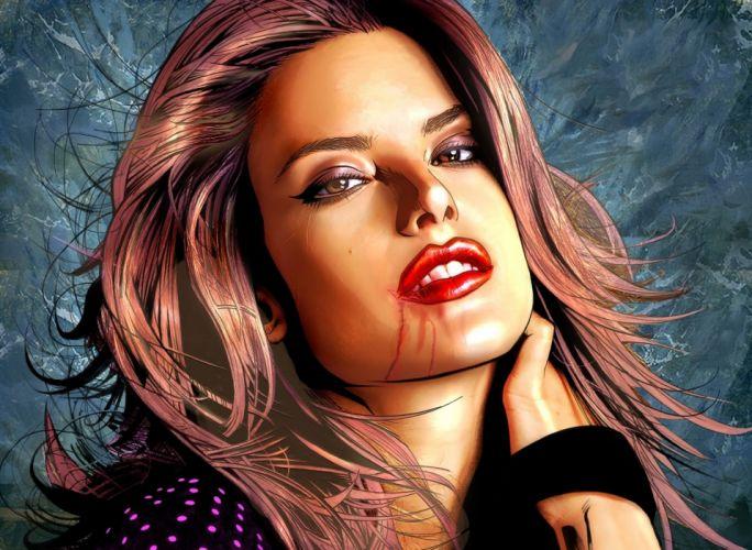 Face arts devushka scratches lips hair eyes kasatka wallpaper