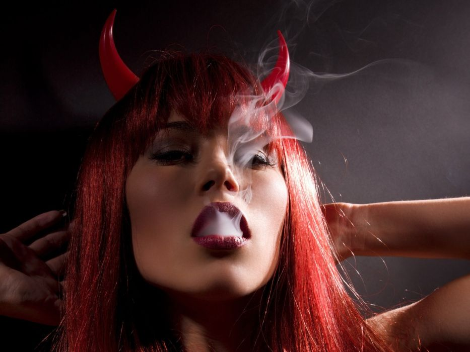 Faces dark horns devil smoke mouth wallpaper