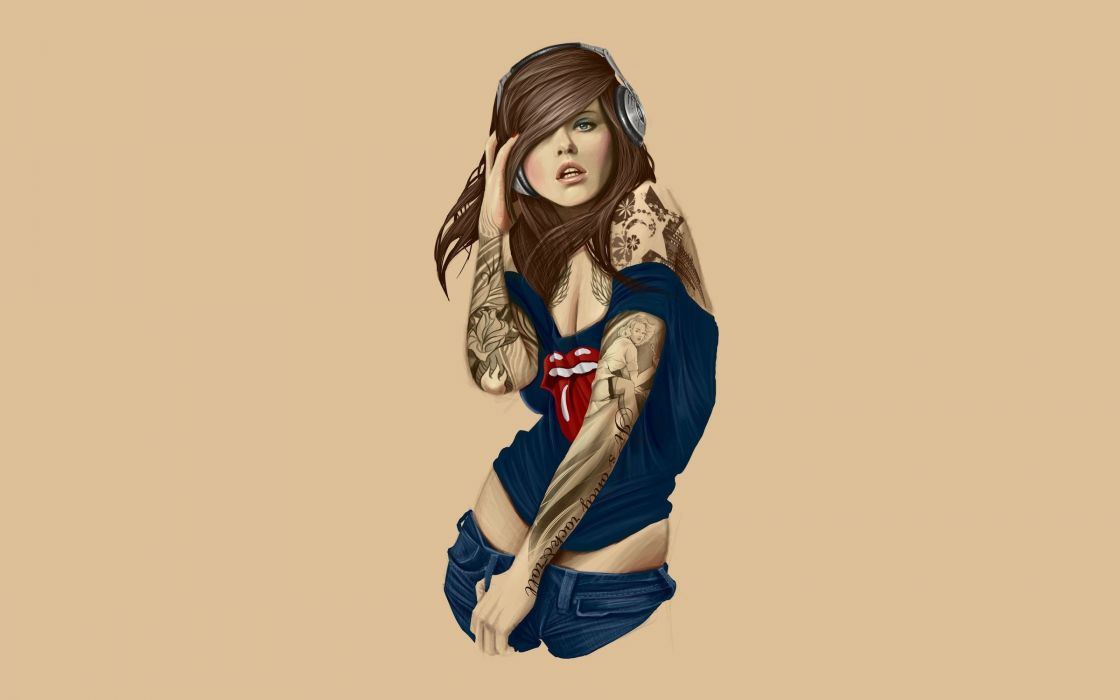 tattoo tattoos art artwork girl girls women woman female sexy babe fetish adult rolling stones headphones lips wallpaper