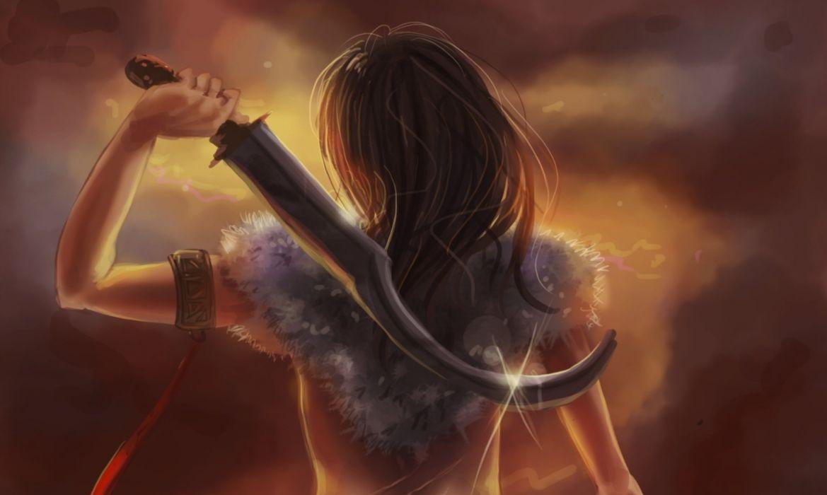 girl art hammer sword fantasy wallpaper