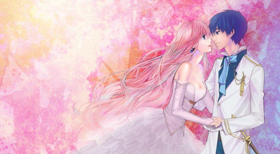 guy art girl megurine luka pair vocaloid anime series character wallpaper