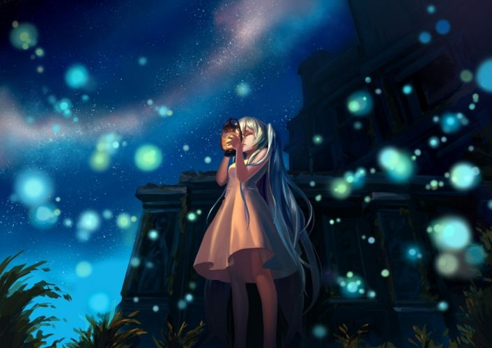 anime series character lantern girl vocaloid hatsune miku vocaloid mizukai art night wallpaper