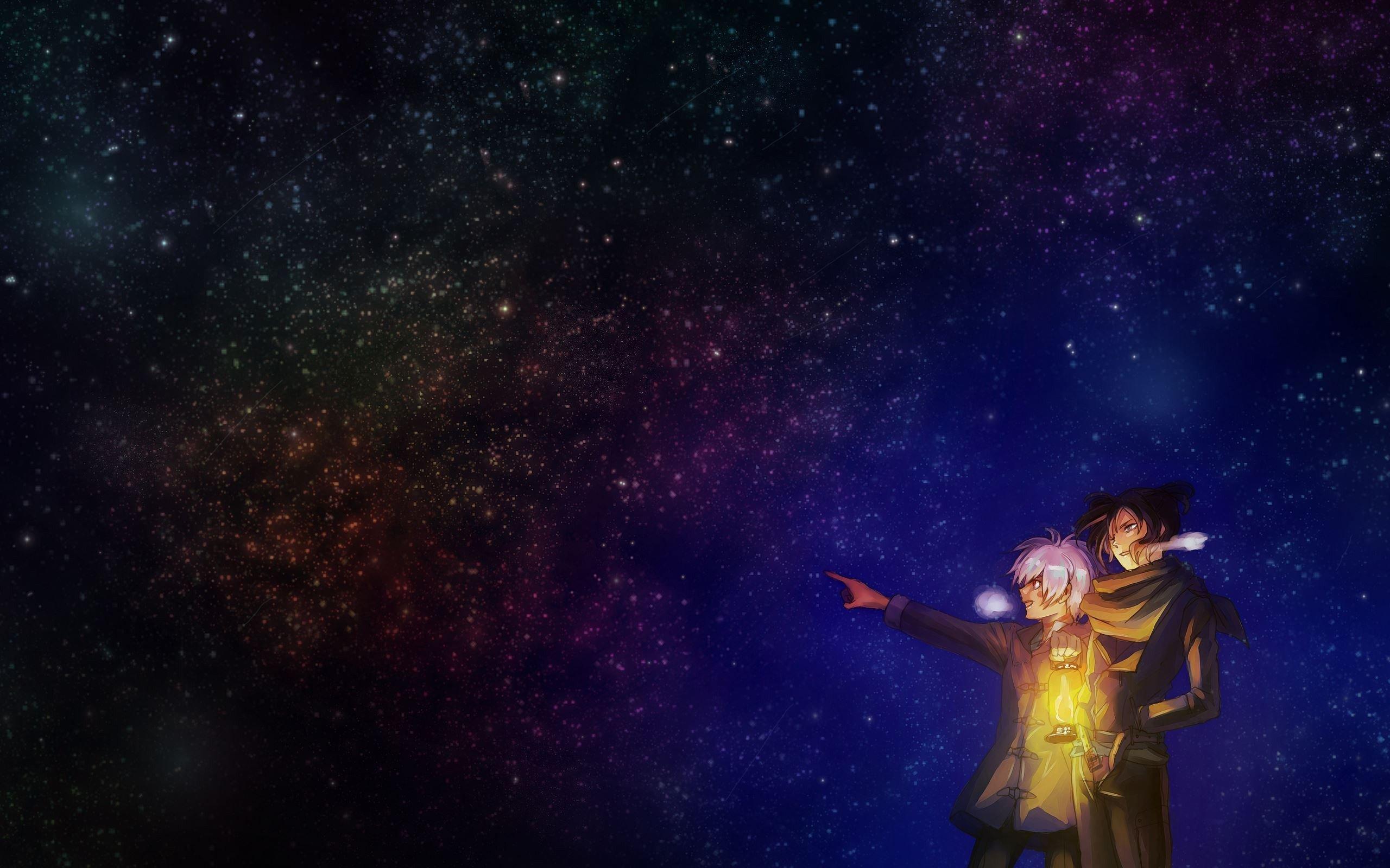Night Stars Lantern Anime Sky Wallpaper 2560x1600 726634 Wallpaperup