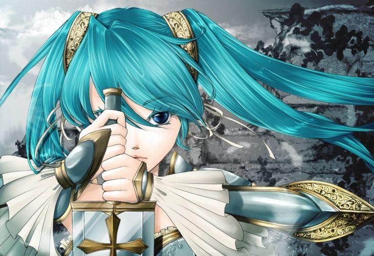 anime series character sword vocaloid vocaloid girl hatsune miku blade weapons wallpaper