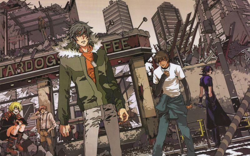 anime series character Togainu no Chi City Ruins wallpaper