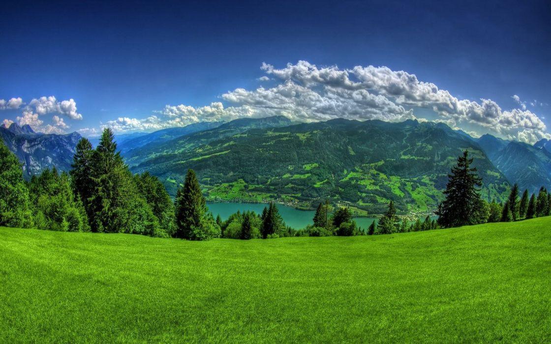 Spring Green Hill Clouds mountain landscape beauty sky wallpaper