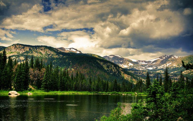 landscape beauty Mountain Spring Lake wallpaper