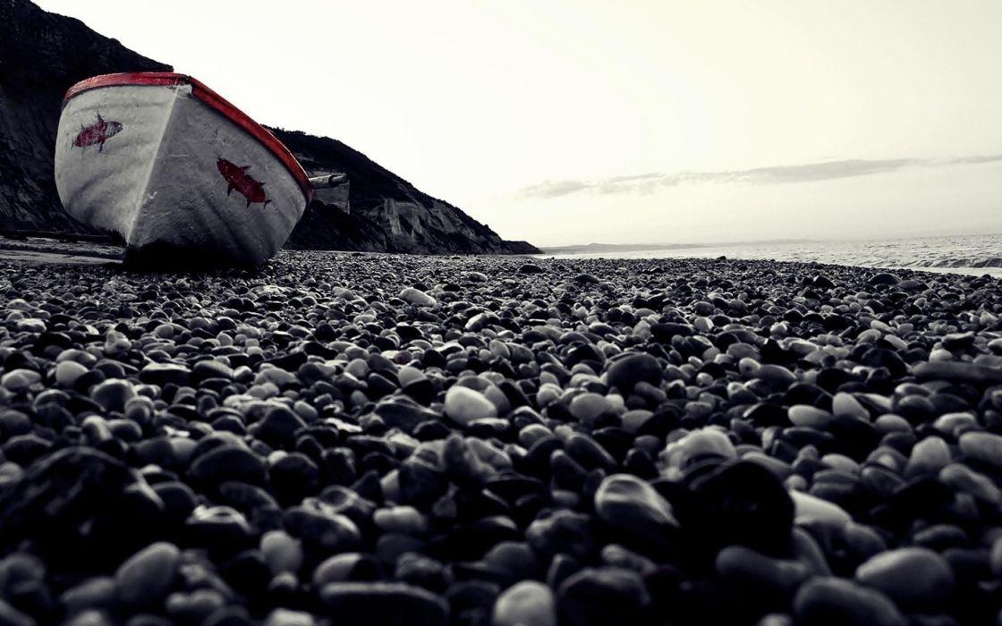 Rounded Rocks Beach Boat wallpaper