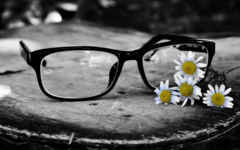 Glasses Flowers wallpaper