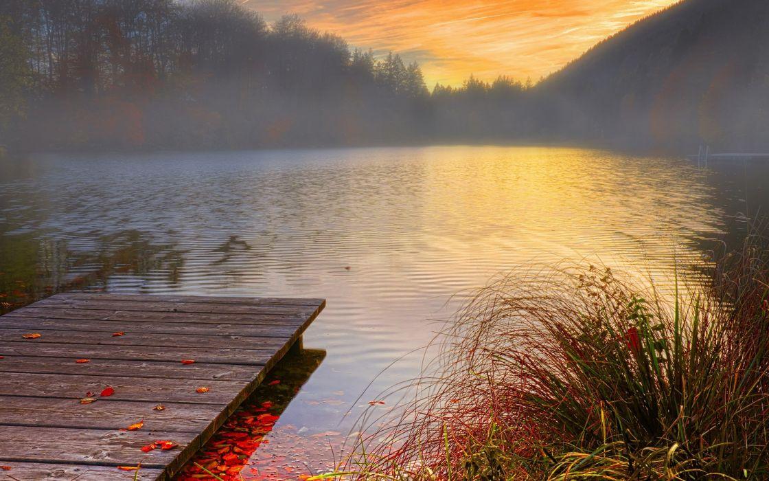Dock Sunset Leaves lake nature wallpaper