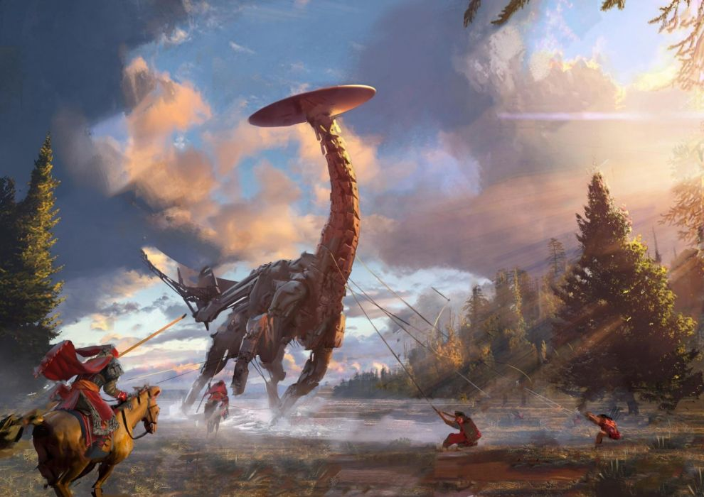 HORIZON ZERO DAWN sci-fi robot cyborg dinosaur monster creature 1hzd archer archery action rpg fantasy warrior wallpaper