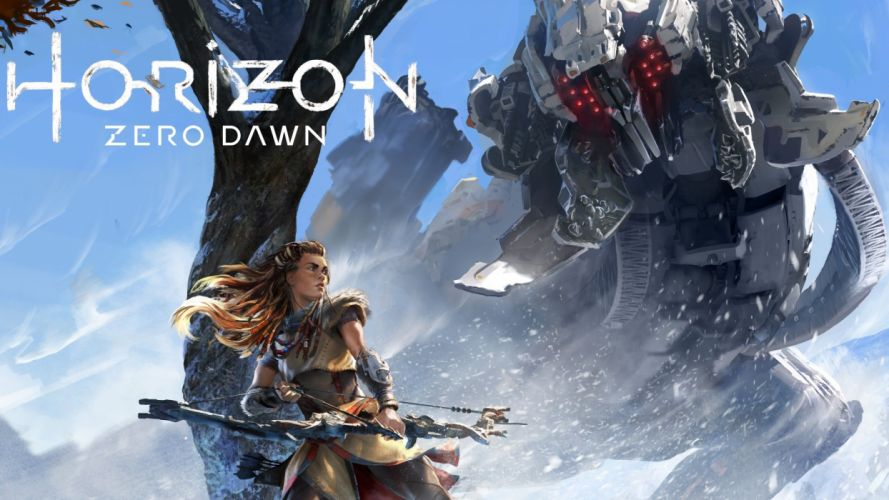 HORIZON ZERO DAWN sci-fi robot cyborg dinosaur monster creature 1hzd archer archery action rpg fantasy warrior poster wallpaper