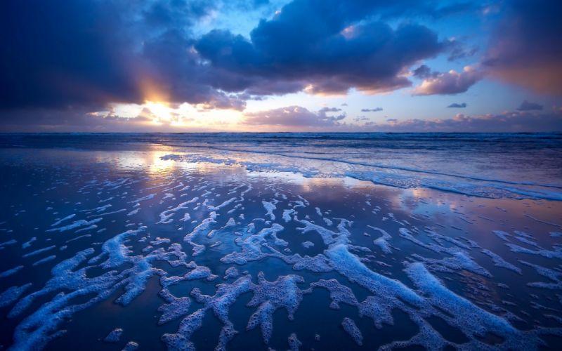 Sea Foam Coast Wave Sand Evening wallpaper
