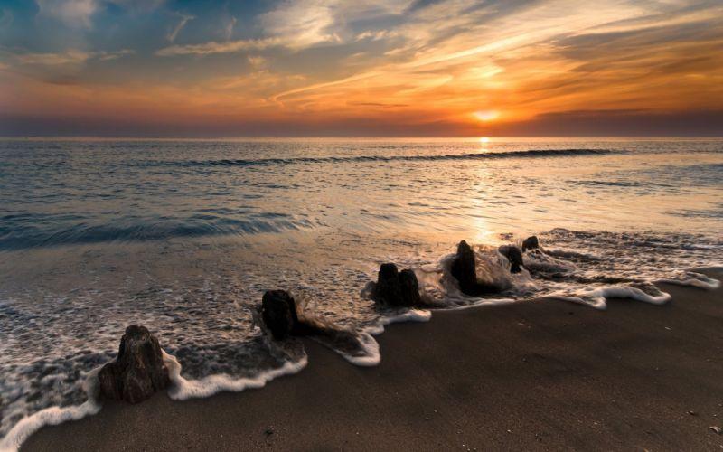 Sea Coast Wave Foam Stones Decline Orange Calm Landscape Romanticism wallpaper