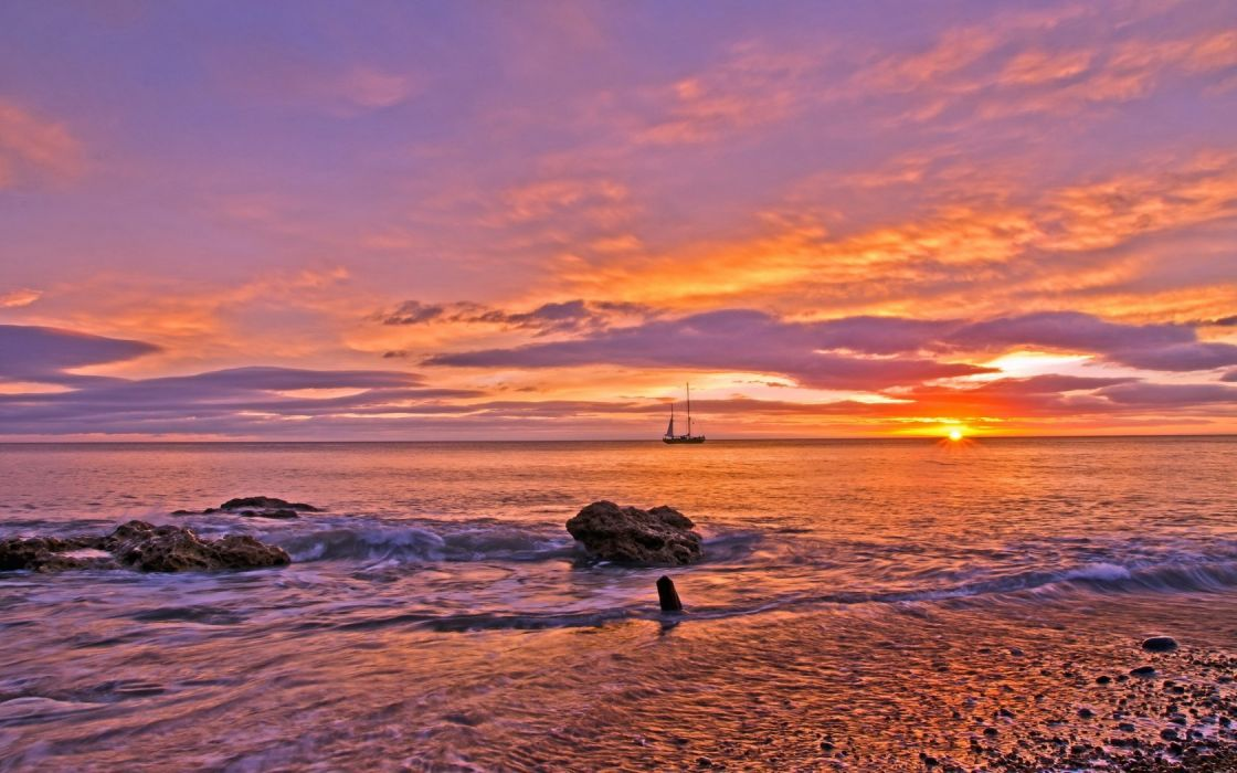Decline Sea Orange Sailing vessel Coast Stones Reeves Clouds Serenity Tranquillity wallpaper