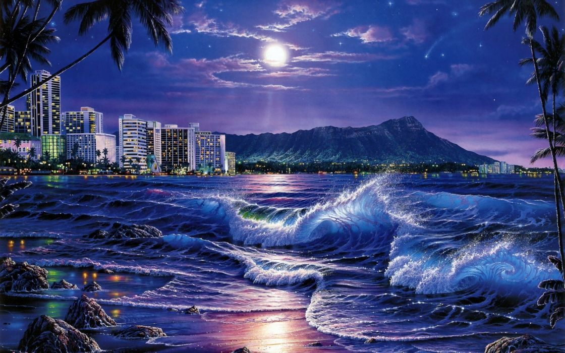 Sea Waves City Night Beach Moon Stars Painting Art wallpaper