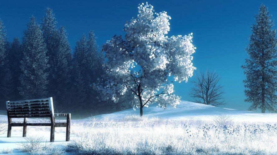 Winter Landscape Nature Snow Bench Trees wallpaper