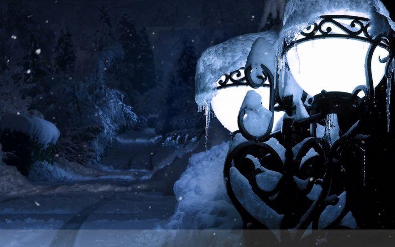 Lantern Light Park Snow Snowdrifts Winter Icicles wallpaper
