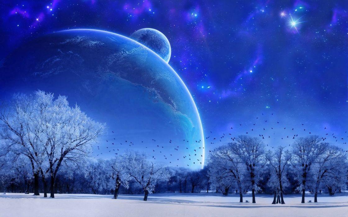 Nature Landscape Winter Sky Snow Full moon Trees Birds Evening wallpaper