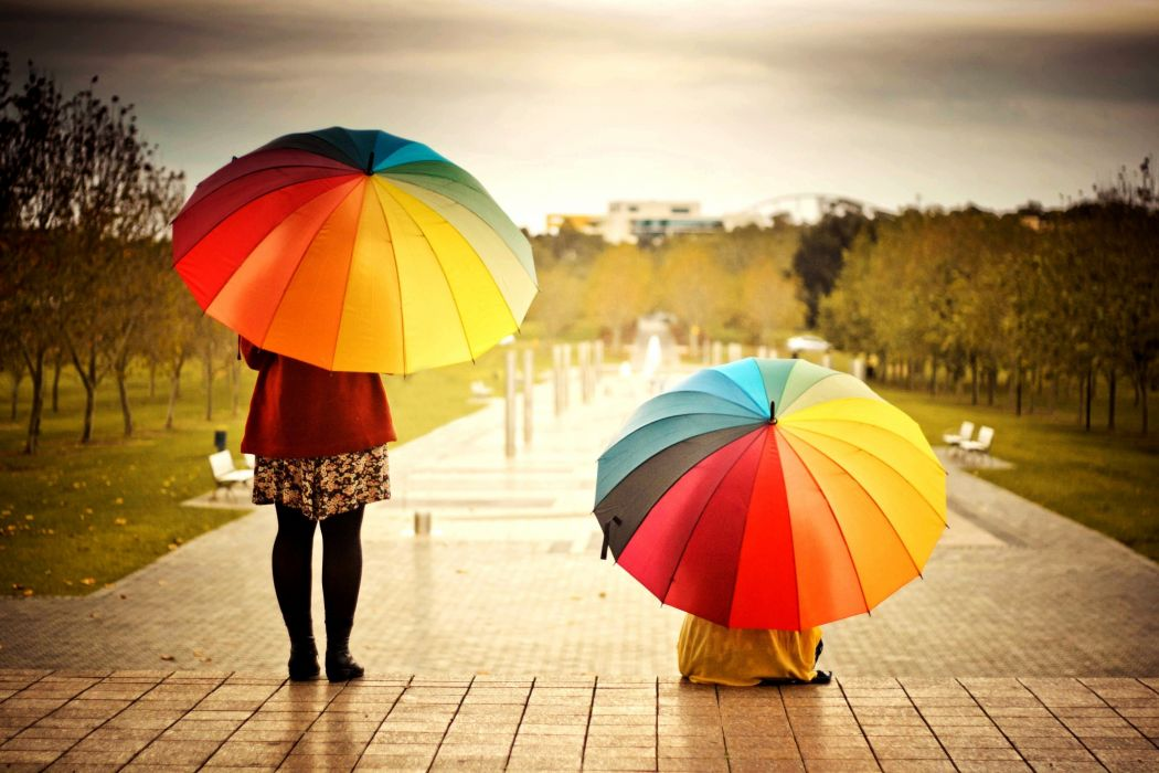 Umbrellas Colorful Kids Rainbow Weather Mood wallpaper
