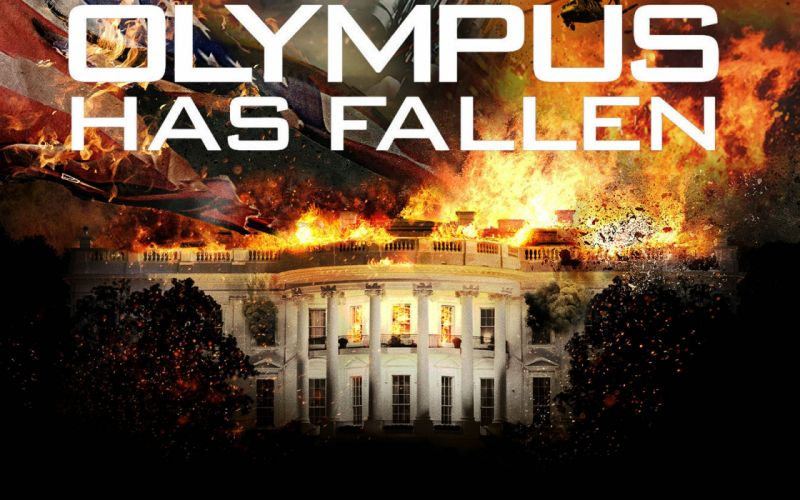 OLYMPUS HAS FALLEN crime action thriller police 1ohf poster fire flames wallpaper