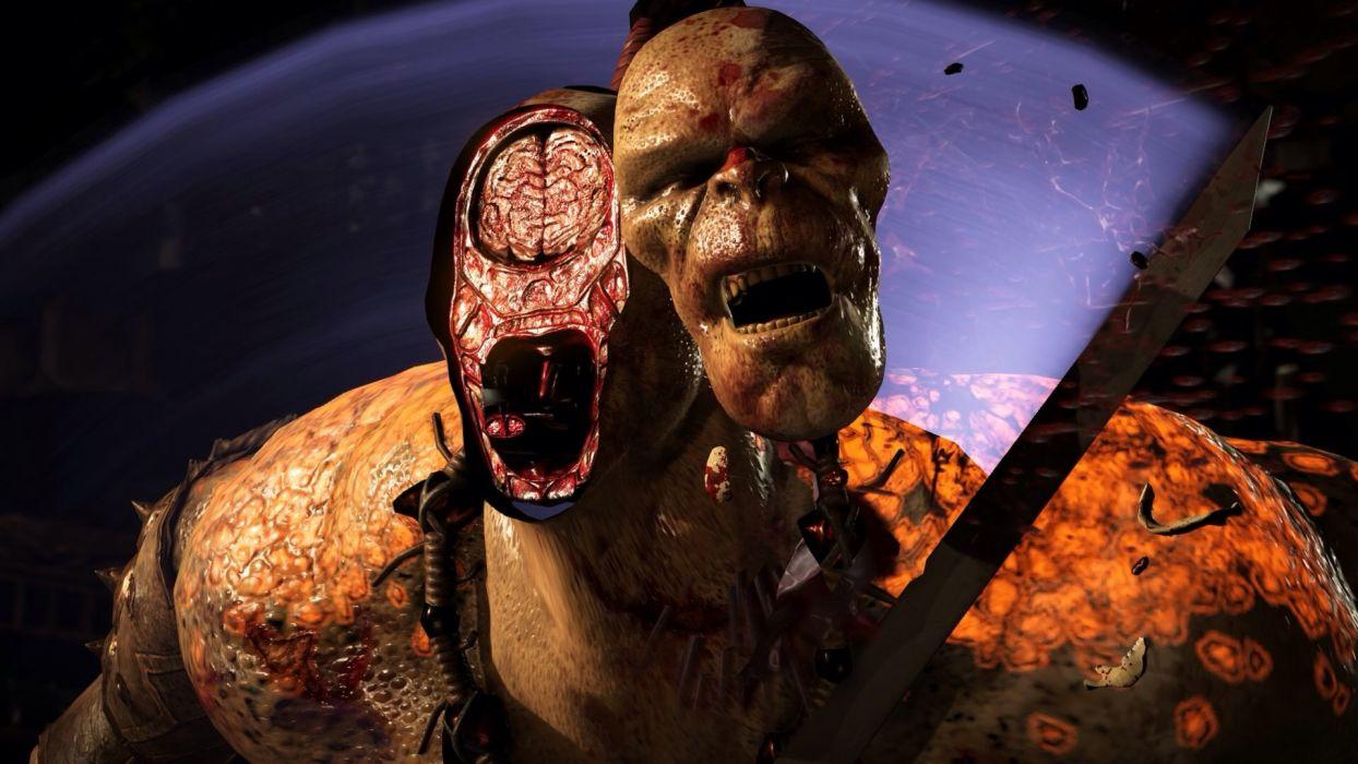 MORTAL KOMBAT X fighting action battle arena warrior 1mkx fantasy artwork blood brain wallpaper