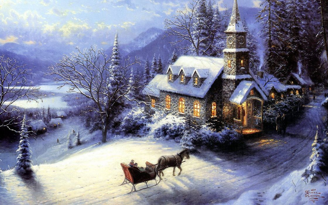 House Winter Snow Sledge Card New Year Christmas Wallpaper