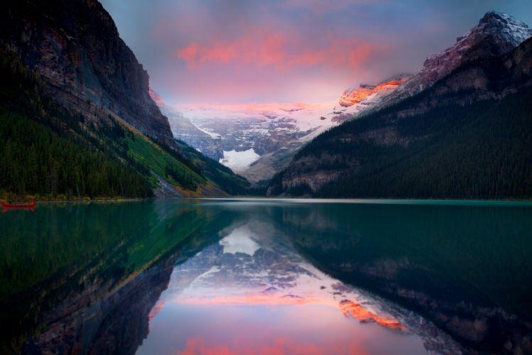 Mountains Sunset Lake Sky Snow Peaks wallpaper