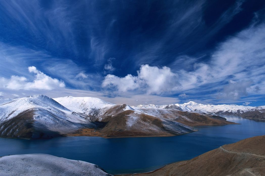 Sky Mountains Hills River Clouds Bends Water wallpaper