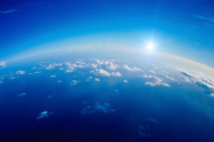 Clouds Height Sky Sun White Blue Light wallpaper